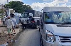 Tiền Giang: Tai nạn giao thông liên hoàn, gây kẹt xe kéo dài nhiều km