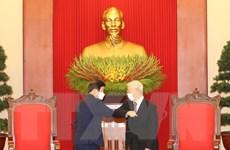 [Photo] Tổng Bí thư, Chủ tịch nước tiếp Chủ tịch Quốc hội Hàn Quốc
