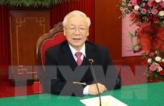 Tổng Bí thư điện đàm với Chủ tịch Đảng Nhân dân Campuchia