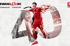 Lewandowski san bằng kỷ lục ghi bàn tồn tại 49 năm của Gerd Mueller