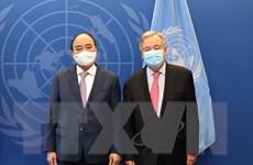 [Photo] Chủ tịch nước Nguyễn Xuân Phúc gặp Tổng thư ký Liên hợp quốc