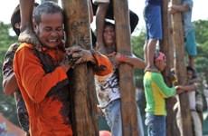 [Photo] Độc đáo trò chơi dân gian leo cột mỡ tại Indonesia
