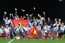 [Photo] Tuyển bóng đá nữ Việt Nam tận hưởng khoảnh khắc chiến thắng