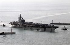 Tàu chiến Nhật Bản tập trận hải quân chung với ba tàu sân bay Mỹ