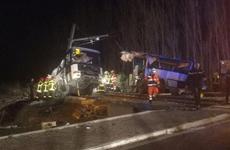 Xe buýt chở học sinh đâm vào tàu hỏa, 23 người thương vong