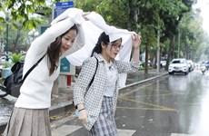 [Photo] Không khí lạnh gây mưa, nhiệt độ tại Hà Nội giảm mạnh