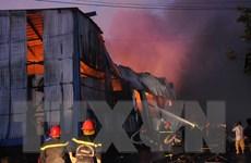 [Photo] Công ty giấy cháy ngùn ngụt trong Khu công nghiệp Vĩnh Lộc