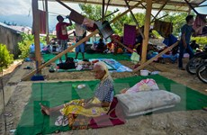 Hàng nghìn trẻ em Indonesia vẫn phải sống ở các khu lều tạm ở Palu