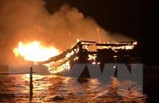 Thanh Hóa: Hai tàu cá bằng gỗ bất ngờ bốc cháy ngùn ngụt