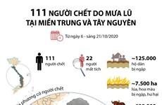[Infographics] 111 người chết do mưa lũ tại miền Trung và Tây Nguyên