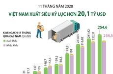 [Infographics] 11 tháng, Việt Nam xuất siêu kỷ lục hơn 20,1 tỷ USD