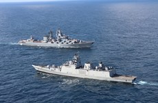 Nga triển khai nhiều tàu chiến tập trận hải quân chung với Ấn Độ