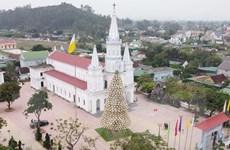 Nghệ An: Độc đáo cây thông Noel làm từ hơn 1.000 chiếc nón lá