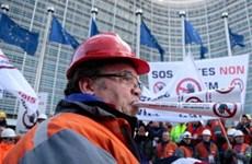 Hơn 5.000 công nhân ngành thép châu Âu biểu tình tại Brussels