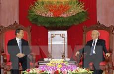 Tổng Bí thư tiếp Bí thư Đảng ủy Khu tự trị dân tộc Choang Quảng Tây