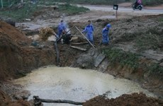 Khắc phục sự cố vỡ tuyến ống tải nhà máy nước BOO Đồng Tâm