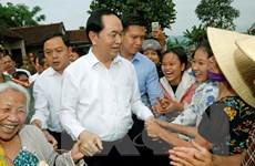 Chủ tịch nước Trần Đại Quang thăm xã nông thôn mới Nghĩa Đồng