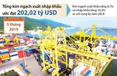 [Infographics] 5 tháng, xuất nhập khẩu hàng hóa ước đạt 202 tỷ USD