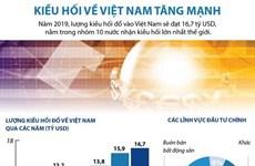 [Infographics] Lượng kiều hối về Việt Nam năm 2019 tăng mạnh