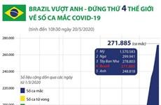 [Infographics] Brazil vượt Anh, đứng thứ 4 thế giới về ca mắc COVID-19