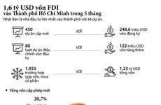 [Infographics] 1,6 tỷ USD vốn FDI đổ vào TP.HCM trong 5 tháng đầu năm