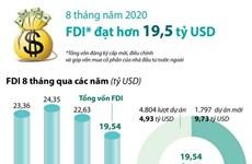 [Infographics] Việt Nam thu hút hơn 19,5 tỷ USD vốn FDI trong 8 tháng