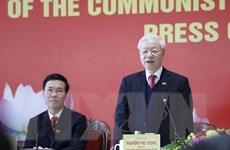 [Photo] Tổng Bí thư Nguyễn Phú Trọng chủ trì họp báo sau ĐH Đảng XIII