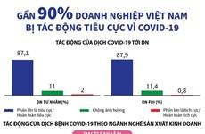 [Infographics] Gần 90% doanh nghiệp Việt bị tác động tiêu cực vì dịch
