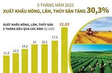 Xuất khẩu nông, lâm, thủy sản trong 5 tháng năm 2021 tăng 30,3%