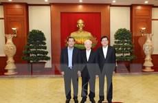 Hình ảnh Tổng Bí thư dự cuộc gặp cấp cao Việt Nam-Campuchia-Lào