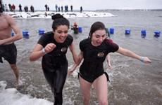 """Sôi động cuộc thi """"tắm gấu Bắc cực"""" trong năm mới ở Canada"""