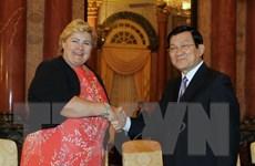 Chủ tịch nước Trương Tấn Sang tiếp Thủ tướng Na Uy Erna Solberg
