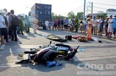 TP.HCM: Xe container đâm xe máy, hai người tử vong tại chỗ