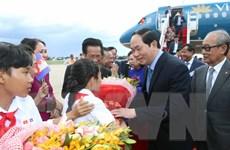 Chủ tịch nước Trần Đại Quang bắt đầu chuyến thăm tới Campuchia