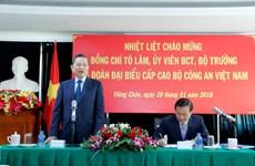 Bộ trưởng Tô Lâm làm việc với cán bộ Đại sứ quán Việt Nam tại Lào
