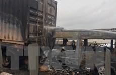 Xác định nguyên nhân xe khách đâm vào đuôi xe container rồi bốc cháy