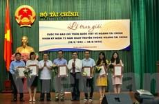 Thông tấn xã Việt Nam đoạt ba giải báo chí viết về ngành tài chính