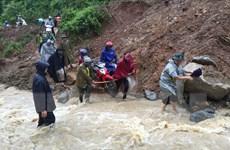 Hình ảnh huyện miền núi Kỳ Sơn của tỉnh Nghệ An ngập lụt nghiêm trọng