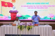 Phó Thủ tướng Vương Đình Huệ làm việc với lãnh đạo Đồng Tháp