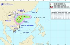 Áp thấp nhiệt đới cách quần đảo Hoàng Sa 410km về phía Đông Đông Bắc