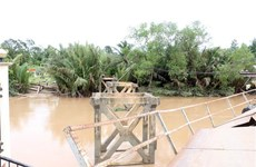 Bến Tre: Sà lan đâm sập hai nhịp giữa cầu Sông Mã