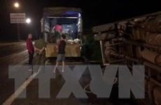 Xe tải đâm trực diện xe máy, 2 bố con chết, 1 người nguy kịch