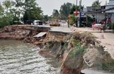 An Giang: Quốc lộ 91 qua xã Bình Mỹ tiếp tục sạt lở nghiêm trọng