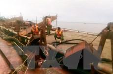 Bắt giữ hai xà lan khai thác cát trái phép trên biển Cần Giờ