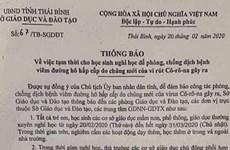 Thái Bình: Bác bỏ thông báo học sinh nghỉ học đến tháng 3