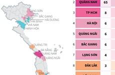 [Infographics] 15 tỉnh, thành phố có bệnh nhân mắc COVID-19