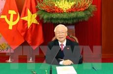 Tổng Bí thư Lào chúc mừng thành công của Đại hội Đảng lần thứ XIII