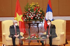 Tổng Bí thư, Chủ tịch nước Lào tiếp Chủ tịch UBTW MTTQ Việt Nam