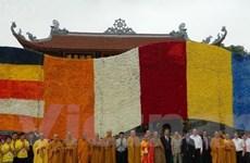 """Xác lập kỷ lục thế giới """"Lá cờ Phật giáo bằng hoa tươi lớn nhất"""""""