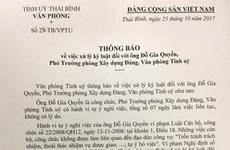 Kỷ luật buộc thôi việc Phó trưởng phòng Văn phòng Tỉnh ủy Thái Bình